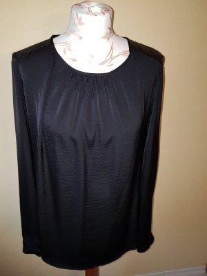 Bluse Atmosphere neu mit Lederimitat an den Schultern, schwarz glänzend