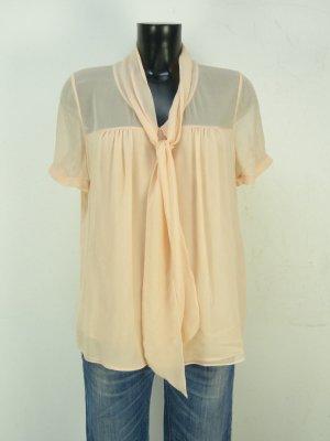 Bluse aus Seide mit Schluppe Rene Lezard - Nude Hellrosa Aprikot