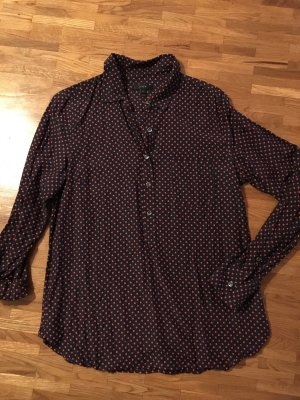 Bluse aus Seidengemisch, dunkelblau mit roten Pünktchen, J. Crew, S