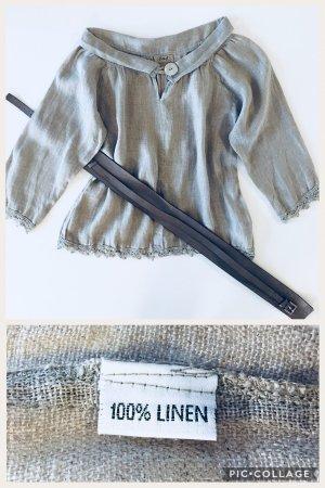 Blusa de lino gris
