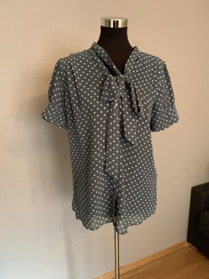 Yumi Tie-neck Blouse green grey-oatmeal polyester