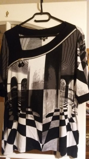 Blouse à manches courtes noir-blanc tissu mixte