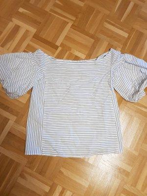 H&M Gestreept shirt wit-lichtblauw