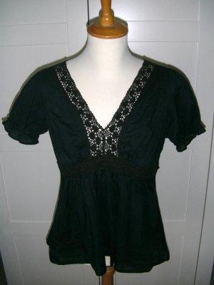 Bluse, Babydoll, schwarz, Spitze, Melrose, Gr. 34