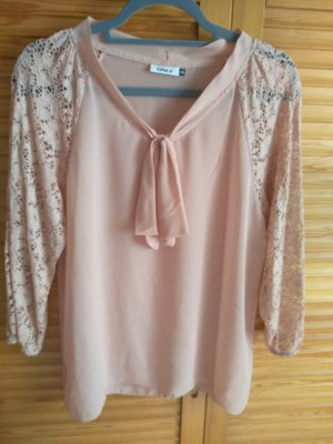 Only Blusa collo a cravatta rosa antico Poliestere