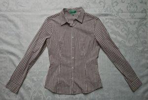 Bluse beige graubraun weiß langarm kariert Karo Trachten von Montego Gr. 36