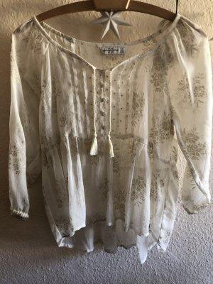 Abercrombie & Fitch Blusa transparente crema-color oro