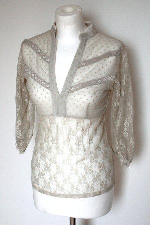 Bluse beige transparent Spitze