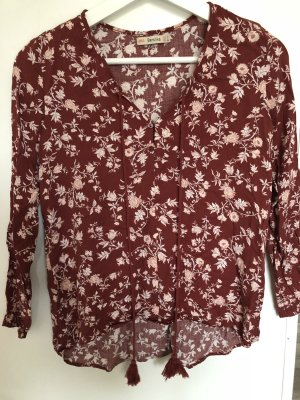 Bershka Long Sleeve Blouse red-white