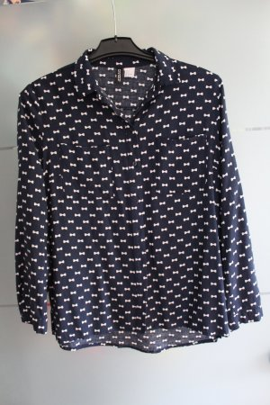 Bluse Blau mit Schleifenaufdruck von H&M