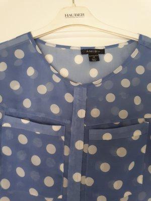 Bluse blau mit weißen Punkten
