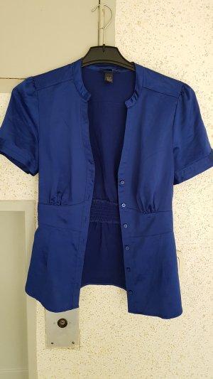 bluse blau samt gr. 38