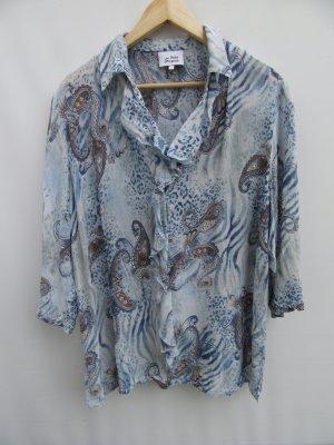 Bluse blau Sommer Vintage Retro Gr. XXL oversize