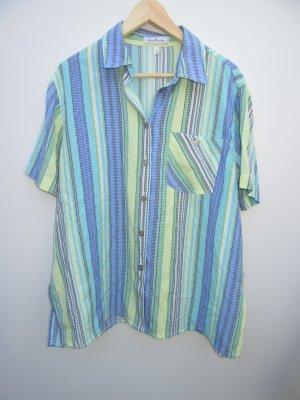Bluse blau Vintage Retro bunt mit Muster Gr. 48