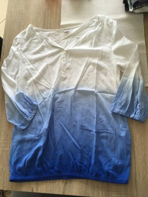 Bluse blau/weiß Dreiviertelarm