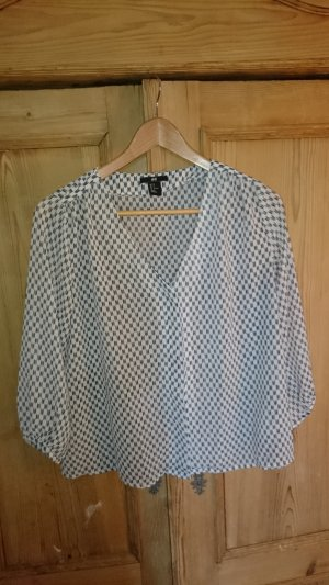 H&M Blouse white-dark blue polyester