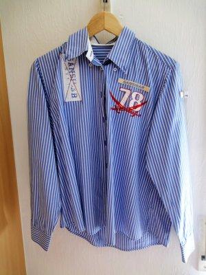 Bluse blau weiß gestreift Gr. 40/42 langarm SANSIBAR SYLT