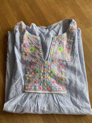 Bluse blau/Weiß gestreift mit neon Blumen