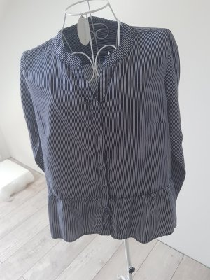 Street One Ruche blouse wit-donkerblauw
