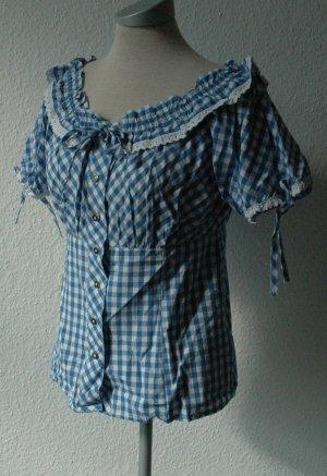 Bluse blau weiß kariert + Spitze neu Gr. L 44 46 Rockabilly