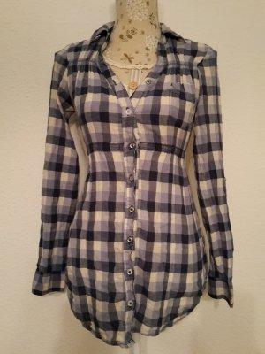 Geruite blouse wit-leigrijs