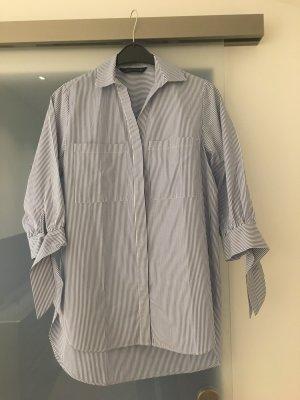 Zara Oversized blouse wit-korenblauw