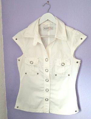 BlendShe Short Sleeved Blouse white-silver-colored cotton