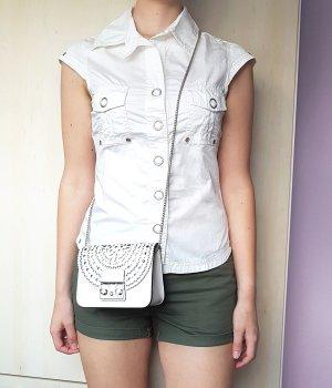 BlendShe Short Sleeved Blouse white cotton