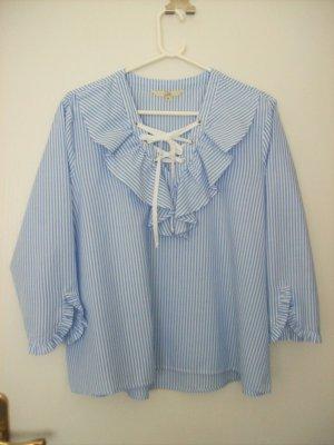 Clockhouse Blusa caída blanco-azul celeste
