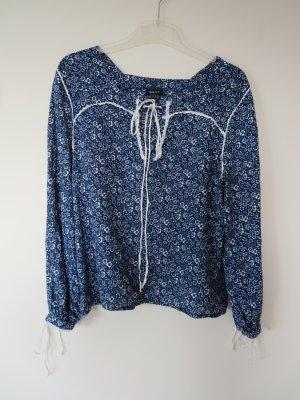 Gant Linen Blouse dark blue-white linen