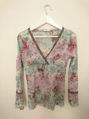 Bluse Blumenmuster V Ausschnitt