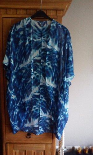 Bluse Blusenjacke blau türkis weiß Gr.54