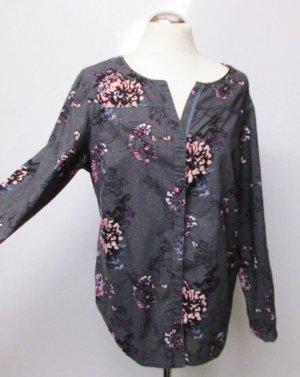 Bluse Blusenjacke Cecil Größe M 38 40 Grau Schwarz Rosa Blüten Blumen Muster Pailetten Hemd Oversize Punkte