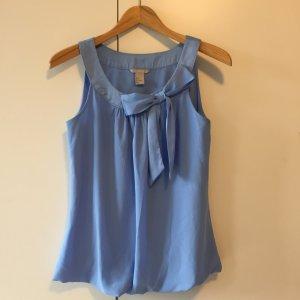 Bluse Business mit Schleife in hellblau süß XS S ärmellos kurzärmlig