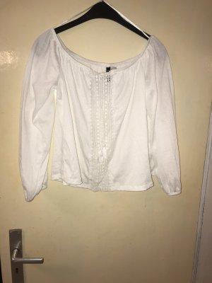 H&M Blusa tipo Carmen blanco puro-blanco