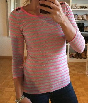 bluse cardigan Süsses streifenshirt oberteil h&m Gr. 34 pink grau