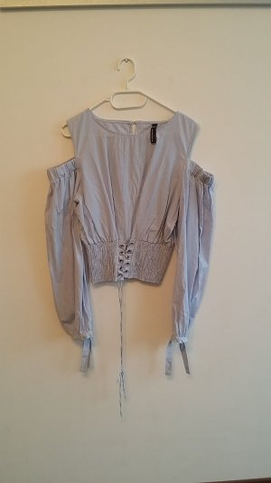 Blind Date Blouse wit-blauw