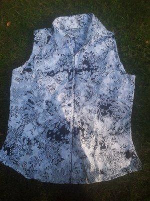 Bluse Chicc schwarz weiß ohne Ärmel Größe 40