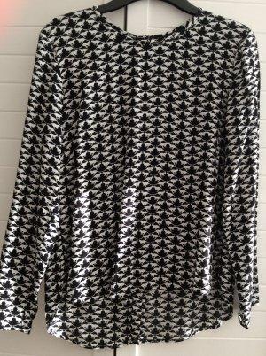 Bluse Chiffon H&M schwarz weiß Print Gr 34 XS Neu hinten geknöpft