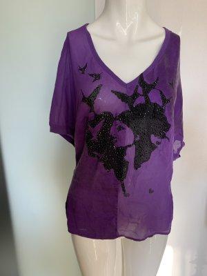Blusa brillante negro-violeta oscuro