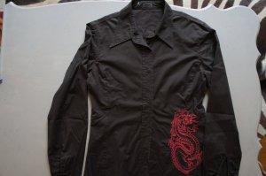 Bluse Cinque braun mit Drachenapplikation in rot, Größe 38