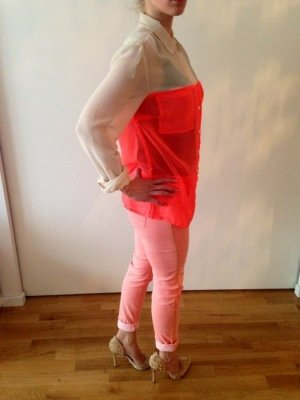 Bluse Creme Neon Orange/Pink Gr 42 #She