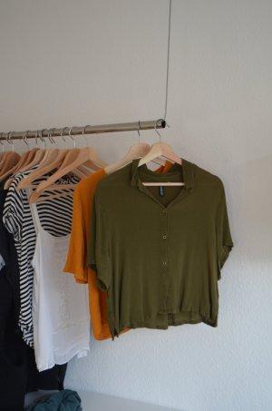 Bluse cropped dunkelgrün