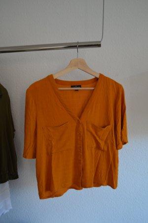 Bluse cropped Topshop orange gelb Knöpfe