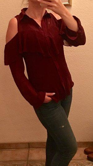 Ruche blouse bordeaux-donkerrood