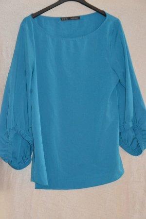 Zara Blouse à manches longues bleu acier tissu mixte