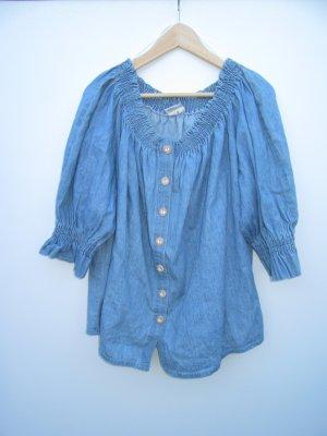 Bluse Damen Tracht Vintage Retro blau Gr. 44 Carmenbluse