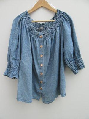Vintage Blouse Carmen bleu