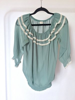 Bluse DANITY mint Rüschen Lolita Gyaru kawaii sweet volants