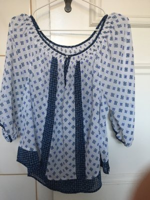 Abercrombie & Fitch Short Sleeved Blouse white-blue